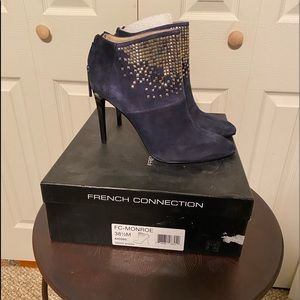 Blue suede studded bootie by French Connection